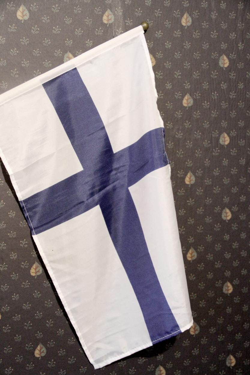 Tja, die meine einzige Finnland-Flagge zieht die Zimmerwand bei der Sauna