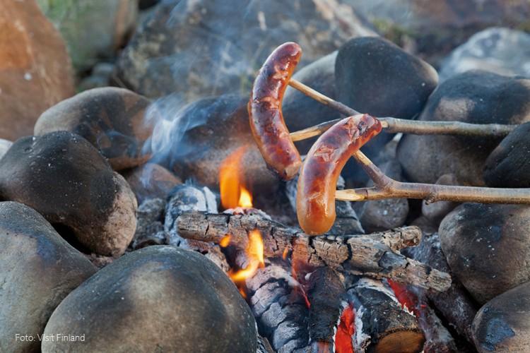 Wurst räkelt sich am Feuer.